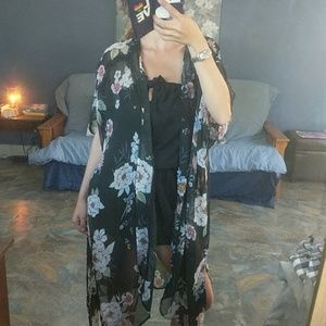 Black Flower Pattern Sheer Long Duster